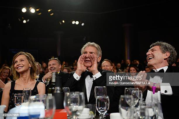Actress Calista Flockhart honoree Harrison Ford and Walt Disney Studios Chairman Alan Horn attend the 2015 Jaguar Land Rover British Academy...
