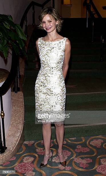 Actress Calista Flockhart poses during the B'ani B'rith International Distinguished Humanitarian Award Dinner Cocktail Reception Honoring Harrison...