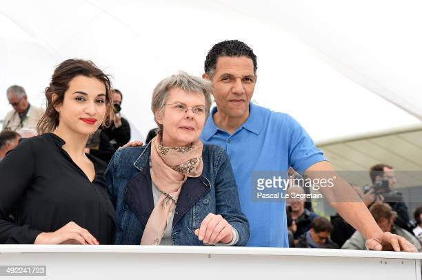 Actress Camelia Jordana director Pascale Ferran and actor Roschdy Zem attend the 'Bird People' photocall at the 67th Annual Cannes Film Festival on...