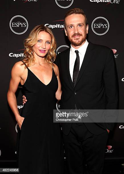 Actress Cameron Diaz and Actor Jason Segel attend The 2014 ESPYS at Nokia Theatre LA Live on July 16 2014 in Los Angeles California