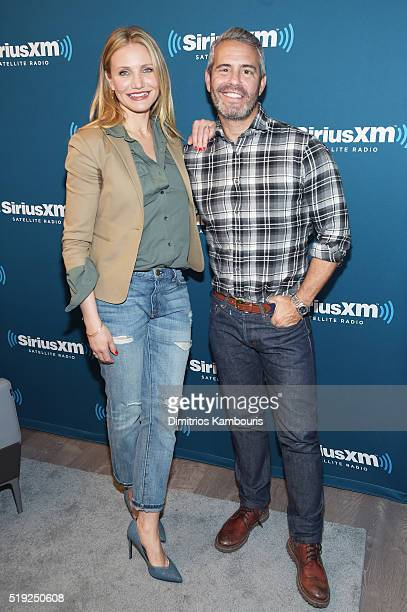 Actress Cameron Diaz and TV personality Andy Cohen pose at SiriusXM's Town Hall after her appearance on Andy Cohen's exclusive SiriusXM channel Radio...
