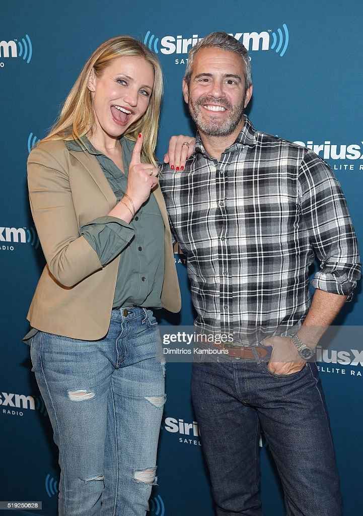 Actress Cameron Diaz and TV personality Andy Cohen pose at SiriusXM's Town Hall after her appearance on Andy Cohen's exclusive SiriusXM channel Radio Andy on April 5, 2016 in New York City.