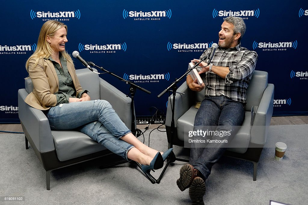 Actress Cameron Diaz and TV personality Andy Cohen speak on SiriusXM's Town Hall on Andy Cohen's exclusive SiriusXM channel Radio Andy on April 5, 2016 in New York City.
