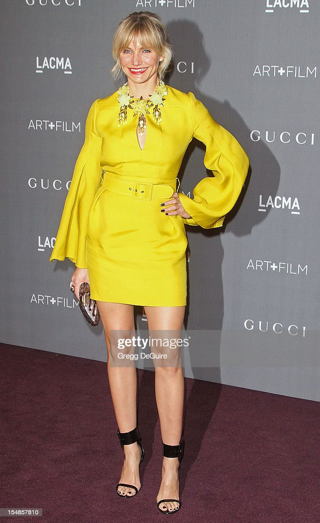 Actress <a gi-track='captionPersonalityLinkClicked' href=/galleries/search?phrase=Cameron+Diaz&family=editorial&specificpeople=201892 ng-click='$event.stopPropagation()'>Cameron Diaz</a> arrives at LACMA Art + Gala at LACMA on October 27, 2012 in Los Angeles, California.