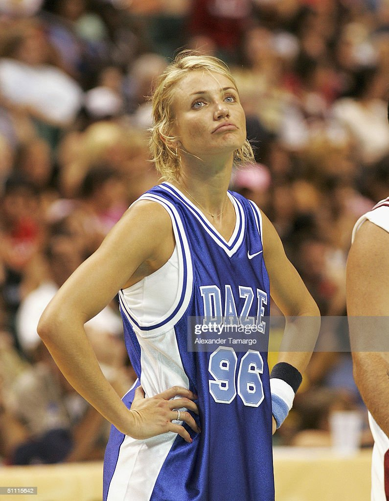 Actress Cameron Diaz at the NSYNC Challenge For The Children Celebrity Basketball Game at the Office Depot Center on July 25, 2004 in Sunrise, Florida.