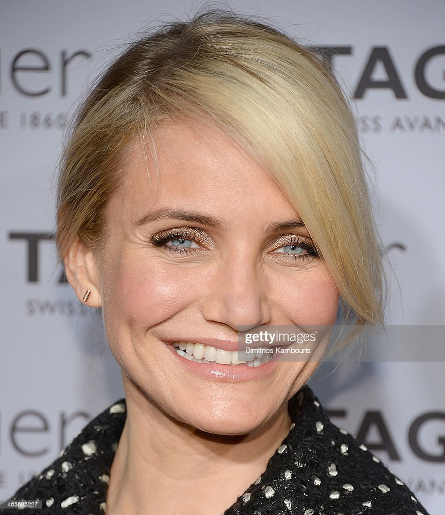 Actress <a gi-track='captionPersonalityLinkClicked' href=/galleries/search?phrase=Cameron+Diaz&family=editorial&specificpeople=201892 ng-click='$event.stopPropagation()'>Cameron Diaz</a> attends TAG Heuer New York City Flagship Store Opening at TAG Heur New York City Flagship Store on January 28, 2014 in New York City.