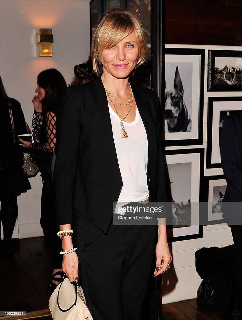 Actress <a gi-track='captionPersonalityLinkClicked' href=/galleries/search?phrase=Cameron+Diaz&family=editorial&specificpeople=201892 ng-click='$event.stopPropagation()'>Cameron Diaz</a> attends the after party for a screening 'Django Unchained' hosted by The Weinstein Company With The Hollywood Reporter, Samsung Galaxy And The Cinema Society at The High Line Room in The Standard Hotel on December 11, 2012 in New York City.