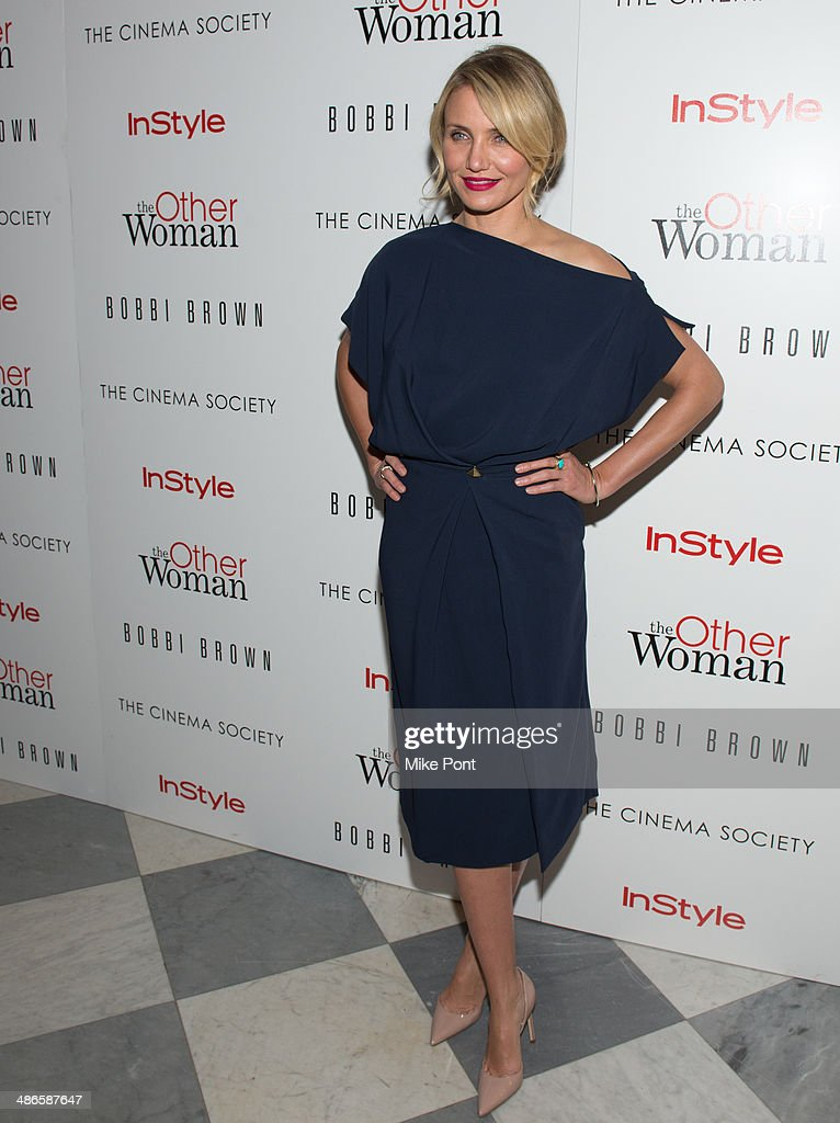Actress <a gi-track='captionPersonalityLinkClicked' href=/galleries/search?phrase=Cameron+Diaz&family=editorial&specificpeople=201892 ng-click='$event.stopPropagation()'>Cameron Diaz</a> attends The Cinema Society & Bobbi Brown with InStyle screening of 'The Other Woman' at The Paley Center for Media on April 24, 2014 in New York City.