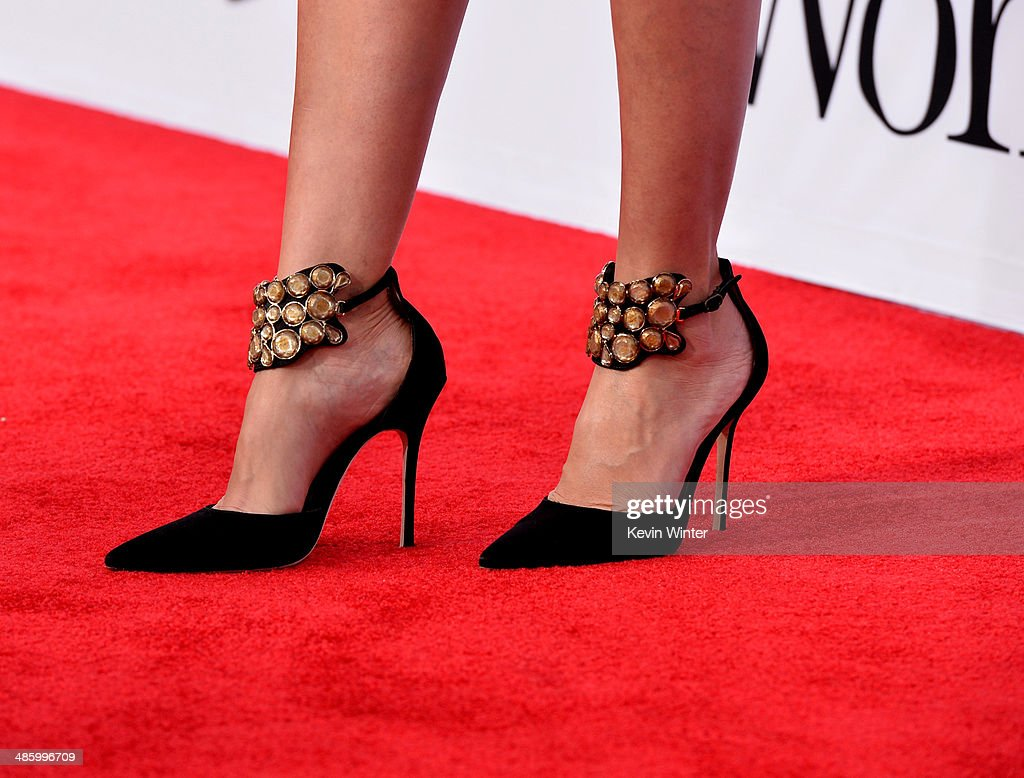 Actress Cameron Diaz (shoe detail) attends the premiere of Twentieth Century Fox's 'The Other Woman' at Regency Village Theatre on April 21, 2014 in Westwood, California.