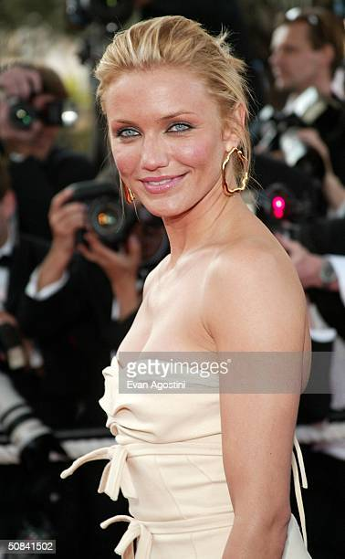 Actress Cameron Diaz attends the screening of the film 'Shrek 2' at the Palais des Festivals during the 57th International Cannes Film Festival May...