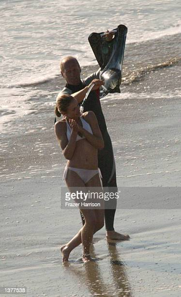 Actress Cameron Diaz jokes around on the set of her upcoming movie 'Charlie's Angels 2' on September 10 2002 in Malibu California