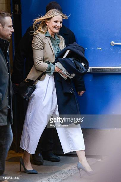 Actress Cameron Diaz leaves the 'Good Morning America' taping at the ABC Times Square Studios on April 05 2016 in New York City