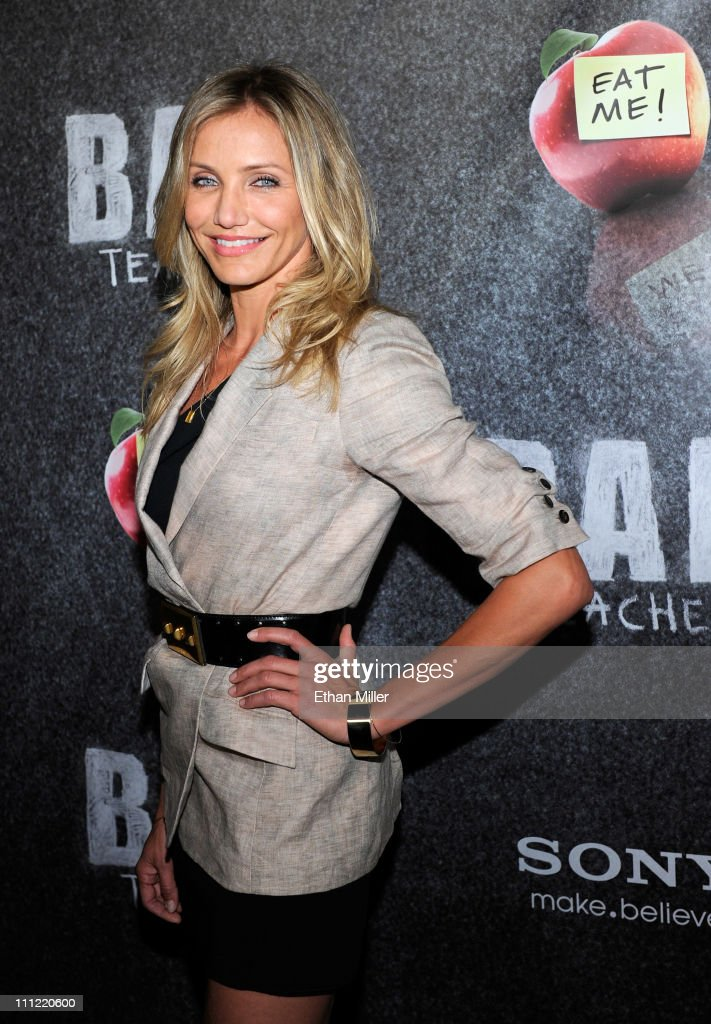 Actress Cameron Diaz, recipient of the CinemaCon Female Star of the Year award, arrives to promote her upcoming Sony Pictures Entertainment film, 'Bad Teacher' at The Colosseum at Caesars Palace during CinemaCon, the official convention of the National Association of Theatre Owners, March 30, 2011 in Las Vegas, Nevada.