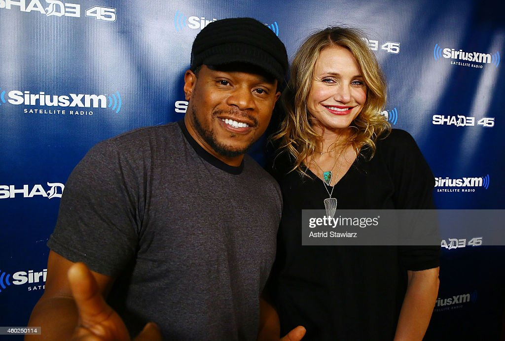 Actress Cameron Diaz (E) visits 'Sway in the Morning' on Shade 45 with host Sway Calloway (L) at the SiriusXM Studios on December 10, 2014 in New York City.