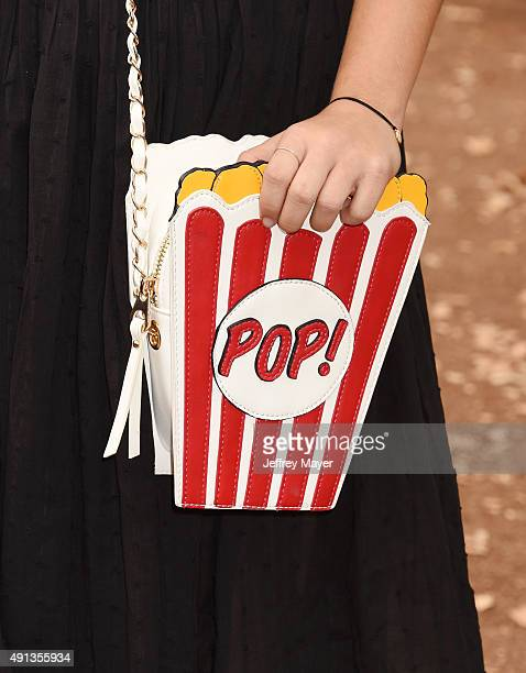 Actress Cami Raich handbag detail at the premiere of Sony Entertainment's 'Goosebumps' at the Regency Village Theater on October 4 2015 in Westwood...
