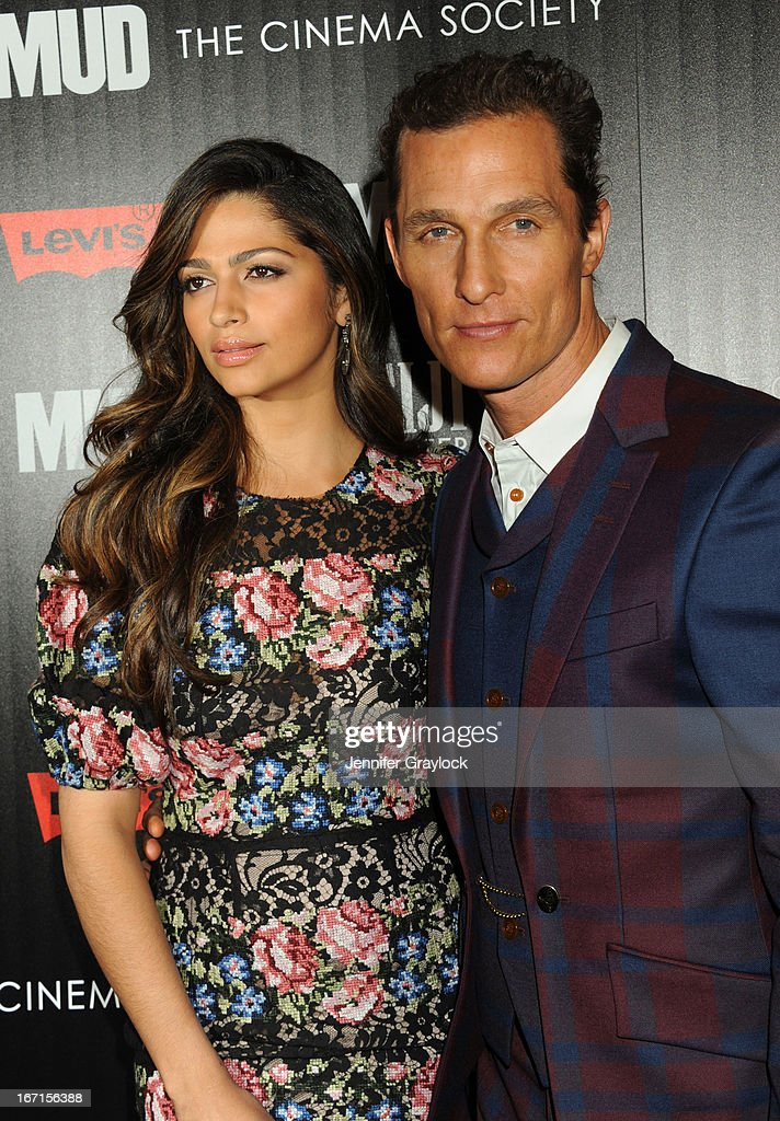 Actress <a gi-track='captionPersonalityLinkClicked' href=/galleries/search?phrase=Camila+Alves&family=editorial&specificpeople=4501431 ng-click='$event.stopPropagation()'>Camila Alves</a> and Actor <a gi-track='captionPersonalityLinkClicked' href=/galleries/search?phrase=Matthew+McConaughey&family=editorial&specificpeople=201663 ng-click='$event.stopPropagation()'>Matthew McConaughey</a> attend The Cinema Society Screening Of 'Mud' hosted by Fiji Water and Levis held at The Museum of Modern Art on April 21, 2013 in New York City.