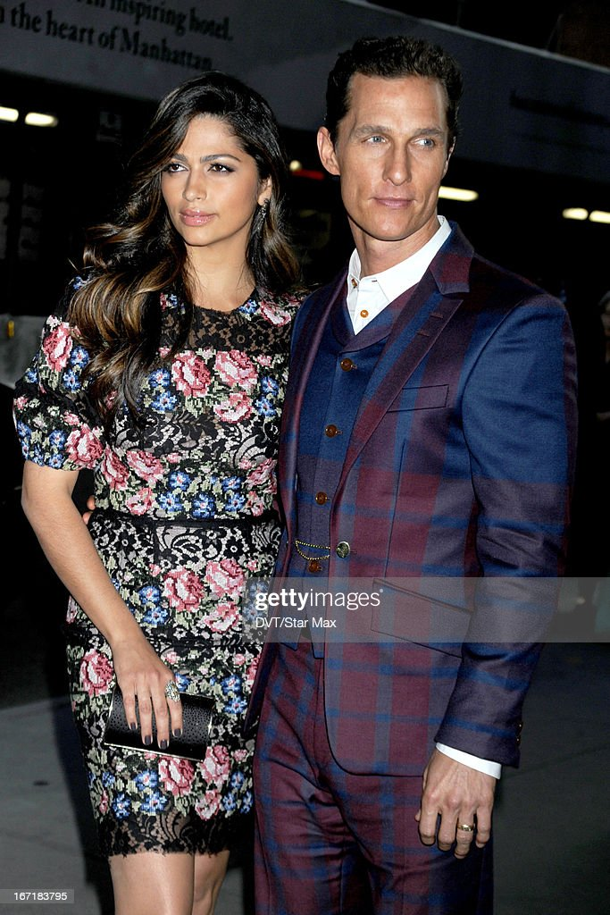 Actress <a gi-track='captionPersonalityLinkClicked' href=/galleries/search?phrase=Camila+Alves&family=editorial&specificpeople=4501431 ng-click='$event.stopPropagation()'>Camila Alves</a> and <a gi-track='captionPersonalityLinkClicked' href=/galleries/search?phrase=Matthew+McConaughey&family=editorial&specificpeople=201663 ng-click='$event.stopPropagation()'>Matthew McConaughey</a> as seen on April 21, 2013 in New York City.