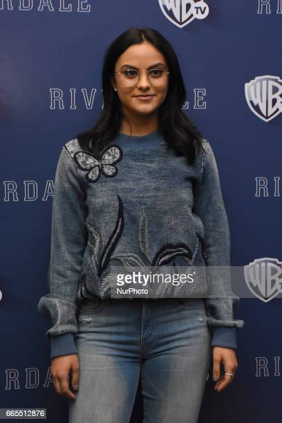 Actress Camila Mendes poses during a photocall to promote Riverdale Tv Series at Four Season Hotel on April 06 2017 in Mexico City Mexico