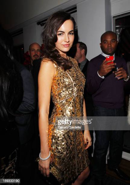 """Actress Camilla Belle attends W Magazine's 'Best Performances Issue"""" and the Golden Globe Awards celebration with W Magazine Cadillac and Dom..."""