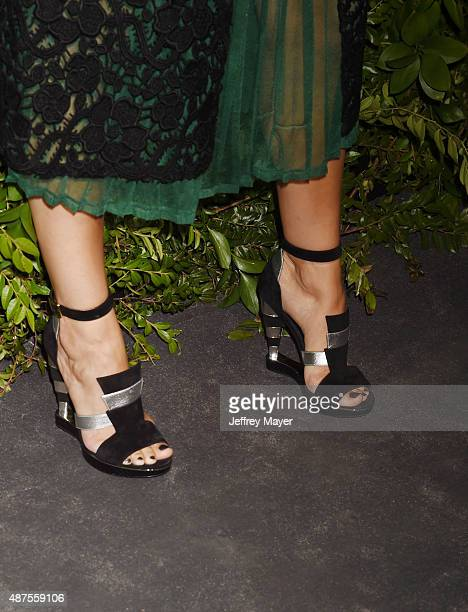 Actress Camilla Belle shoe detail at the Salvatore Ferragamo 100 Years In Hollywood celebration at the newly unveiled Rodeo Drive flagship Salvatore...