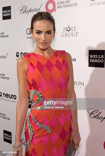 Actress Camilla Belle wearing Chopard attends the 23rd Annual Elton John AIDS Foundation Academy Awards viewing party with Chopard on February 22...