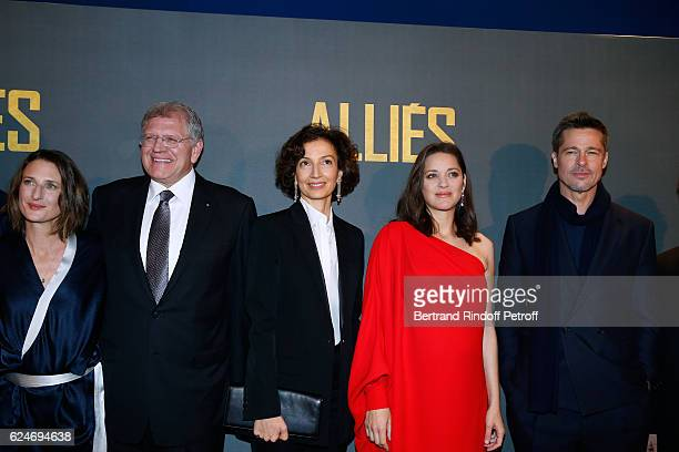 Actress Camille Cottin Director Robert Zemeckis French Minister of Culture and Communication Audrey Azoulay actors Marion Cotillard and Brad Pitt...