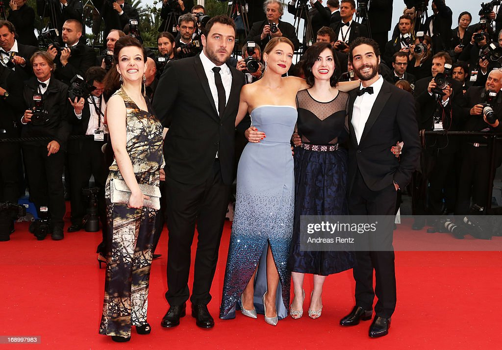 Actress Camille Lellouche, actor Denis Menochet, actress Lea Seydoux, director Rebecca Zlotowski and actor <a gi-track='captionPersonalityLinkClicked' href=/galleries/search?phrase=Tahar+Rahim&family=editorial&specificpeople=5856944 ng-click='$event.stopPropagation()'>Tahar Rahim</a> attends 'Grand Central' Premiere during the 66th Annual Cannes Film Festival at Palais des Festivals on May 18, 2013 in Cannes, France.