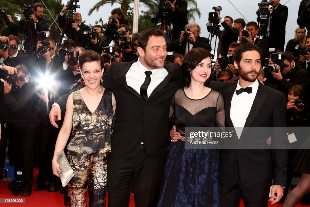 Actress Camille Lellouche, actor Denis Menochet, director Rebecca Zlotowski and actor <a gi-track='captionPersonalityLinkClicked' href=/galleries/search?phrase=Tahar+Rahim&family=editorial&specificpeople=5856944 ng-click='$event.stopPropagation()'>Tahar Rahim</a> attend 'Grand Central' Premiere during the 66th Annual Cannes Film Festival at Palais des Festivals on May 18, 2013 in Cannes, France.