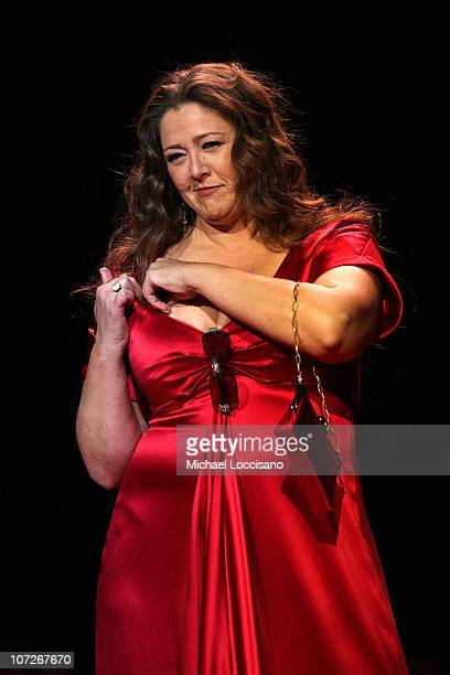 Actress Camryn Manheim walks the runway at the Heart Truth Red Dress Collection 2008 fashion show during MercedesBenz Fashion Week Fall 2008 at...