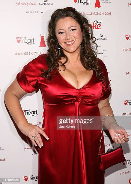 Actress Camryn Manheim wearing a dress by Ali Rahimi arrives at The Heart Truth Red Dress show during MercedesBenz Fashion Week Fall 2008 on Feuary 1...