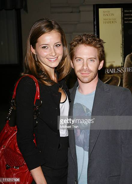 Actress Candace Bailey and actor Seth Green arrives at the Los Angeles Premiere of 'Rails and Ties' held at The Steven J Ross Theatre on the Warner...