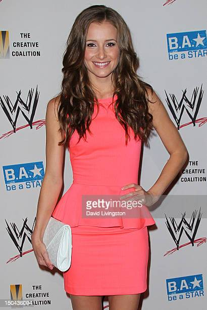 Actress Candace Bailey attends the WWE and The Creative Coalition's SummerSlam Kickoff Party at the Beverly Hills Hotel on August 16 2012 in Beverly...