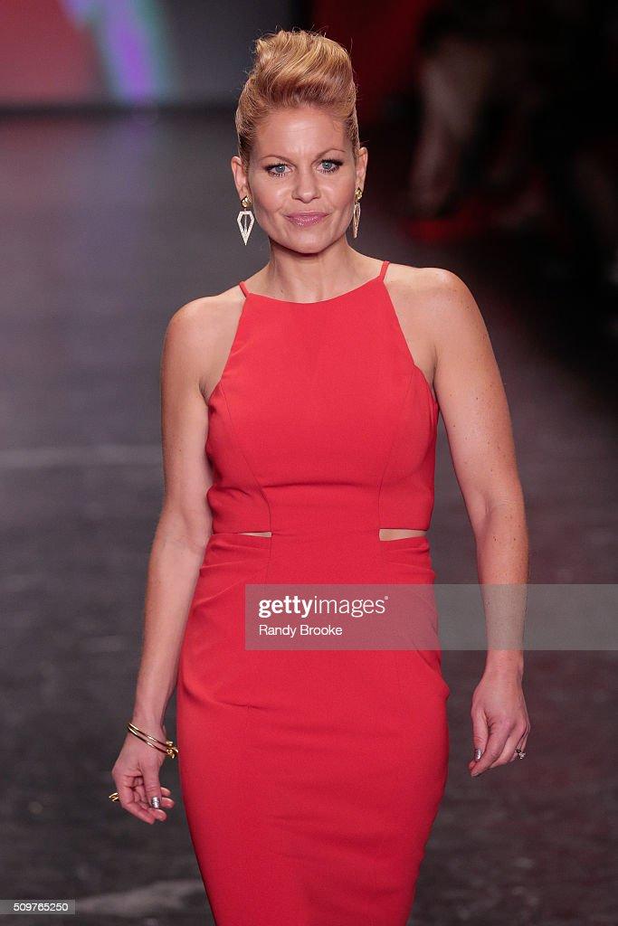 Red dress fashion show candace cameron