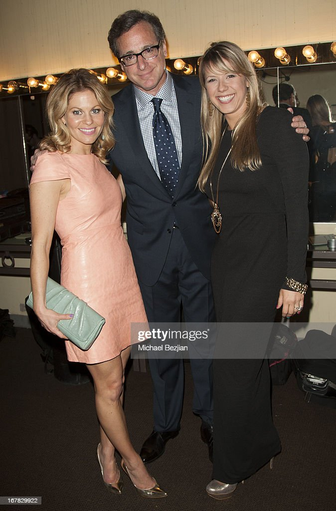 Actress Candace Cameron-Bure, actor/comedian <a gi-track='captionPersonalityLinkClicked' href=/galleries/search?phrase=Bob+Saget&family=editorial&specificpeople=209388 ng-click='$event.stopPropagation()'>Bob Saget</a> and actress <a gi-track='captionPersonalityLinkClicked' href=/galleries/search?phrase=Jodie+Sweetin&family=editorial&specificpeople=1611458 ng-click='$event.stopPropagation()'>Jodie Sweetin</a> attend Scleroderma Research Foundation's Cool Comedy - Hot Cuisine at Regent Beverly Wilshire Hotel on April 30, 2013 in Beverly Hills, California.