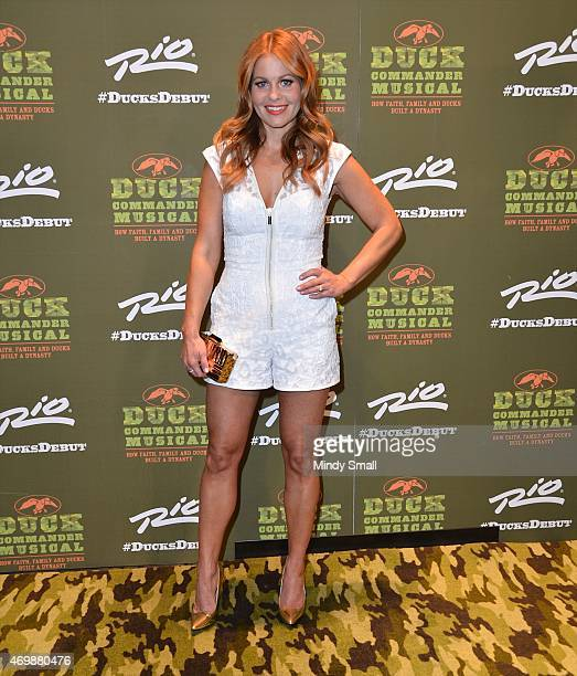 Actress Candace CameronBure arrives at the 'Duck Commander Musical' opening night at the Rio Hotel Casino on April 15 2015 in Las Vegas Nevada