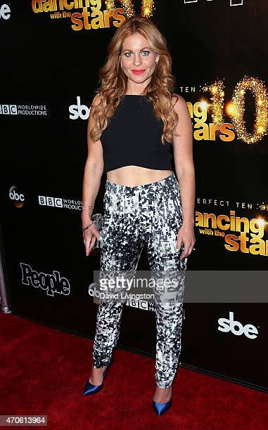 Actress Candace CameronBure attends the 10th anniversary of ABC's 'Dancing with the Stars' at Greystone Manor on April 21 2015 in West Hollywood...