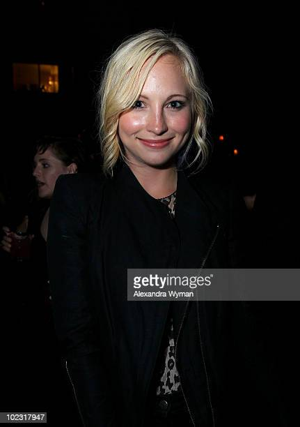 Actress Candice Accola arrives at Nylon Magazine's Music Issue party hosted by MIA held at SkyBar in the Mondrian Hotel Los Angeles on June 22 2010...