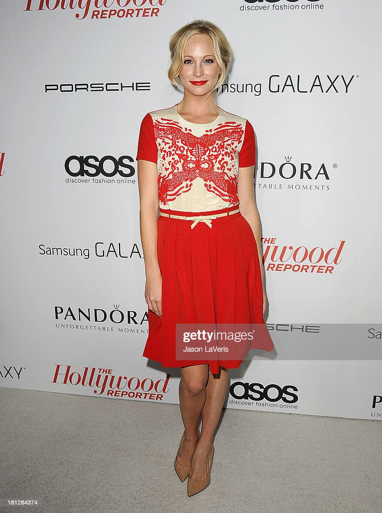 Actress <a gi-track='captionPersonalityLinkClicked' href=/galleries/search?phrase=Candice+Accola&family=editorial&specificpeople=2335285 ng-click='$event.stopPropagation()'>Candice Accola</a> attends the Hollywood Reporter's celebration of the Emmys at Soho House on September 19, 2013 in West Hollywood, California.