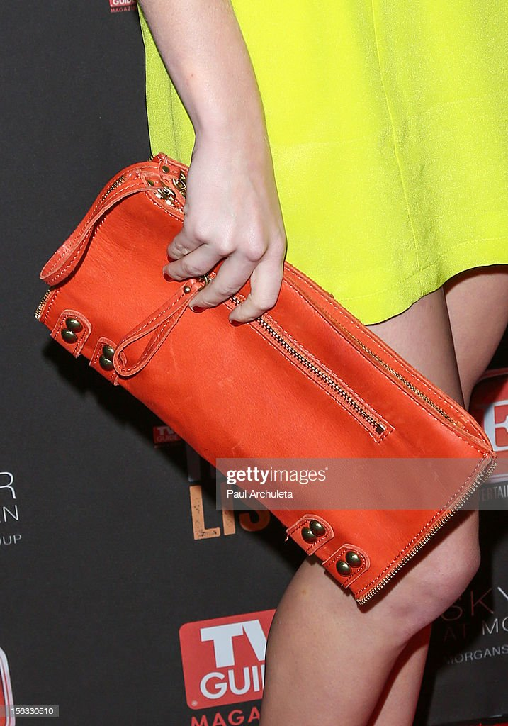Actress Candice Accola (Handbag Detail) attends the TV Guide Magazine Hot List Party at SkyBar at the Mondrian Los Angeles on November 12, 2012 in West Hollywood, California.
