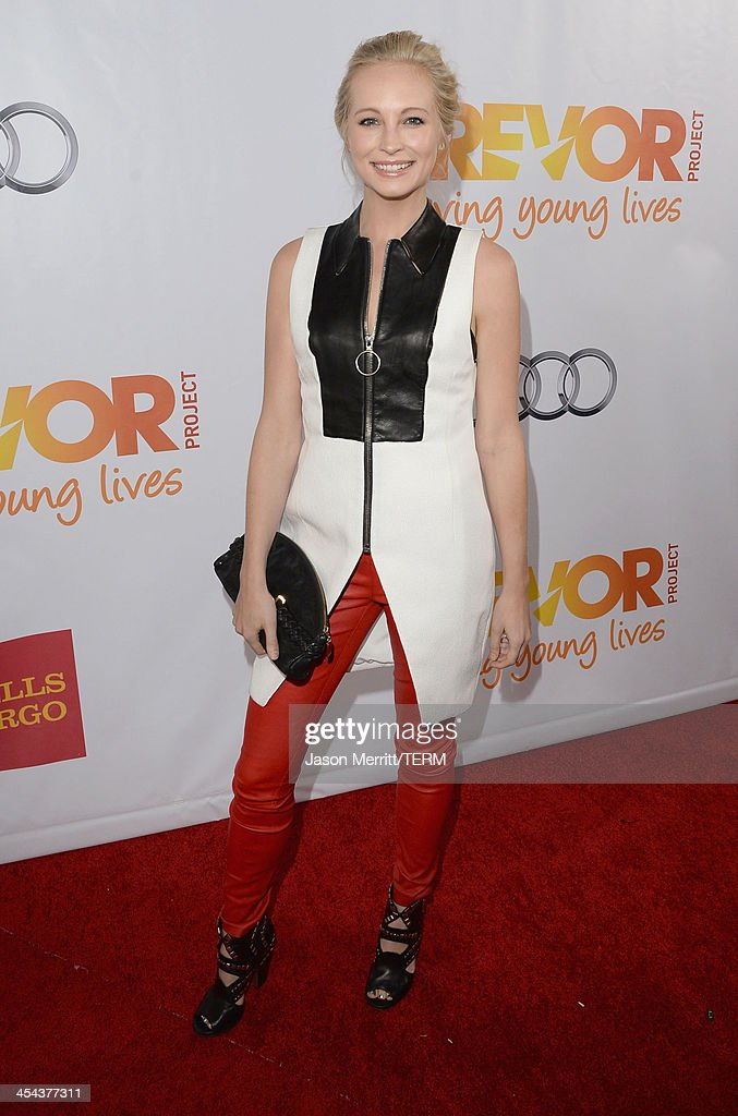 Actress <a gi-track='captionPersonalityLinkClicked' href=/galleries/search?phrase=Candice+Accola&family=editorial&specificpeople=2335285 ng-click='$event.stopPropagation()'>Candice Accola</a> attends 'TrevorLIVE LA' honoring Jane Lynch and Toyota for the Trevor Project at Hollywood Palladium on December 8, 2013 in Hollywood, California.