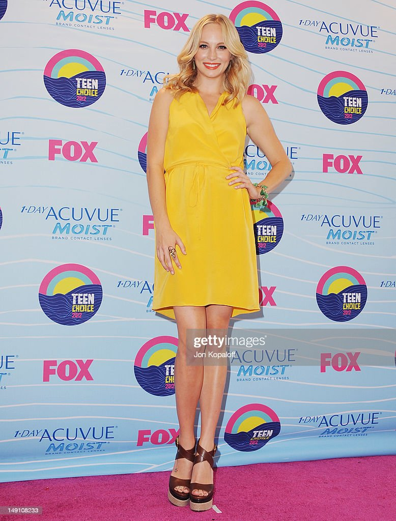 Actress Candice Accola poses in the press room at the 2012 Teen Choice Awards at Gibson Amphitheatre on July 22, 2012 in Universal City, California.