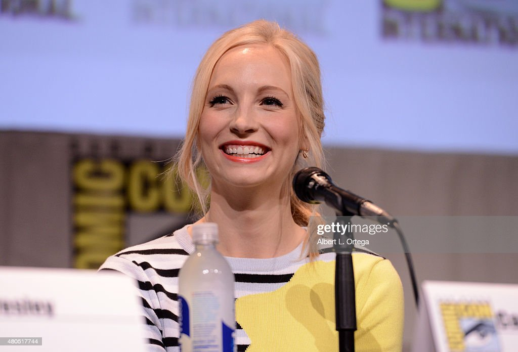 Actress Candice Accola speaks onstage at the 'The Vampire Diaries' panel during Comic-Con International 2015 at the San Diego Convention Center on July 12, 2015 in San Diego, California.