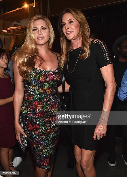 Actress Candis Cayne and TV personality Caitlyn Jenner attend a cocktail reception Benefit for onePULSE Foundation at NeueHouse Hollywood on August...