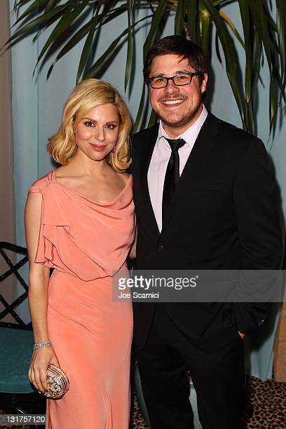 Actress Cara Buono and actor Rich Sommer attends AMC's 2011 Golden Globe Awards viewing and after party held at The Beverly Hilton hotel on January...