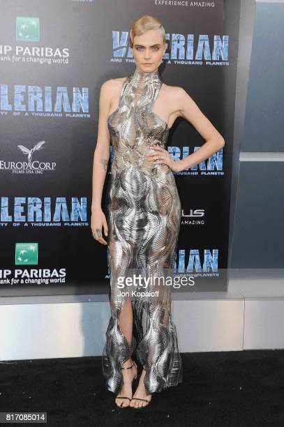 Actress Cara Delevingne arrives at the Los Angeles Premiere 'Valerian And The City Of A Thousand Planets' at TCL Chinese Theatre on July 17 2017 in...