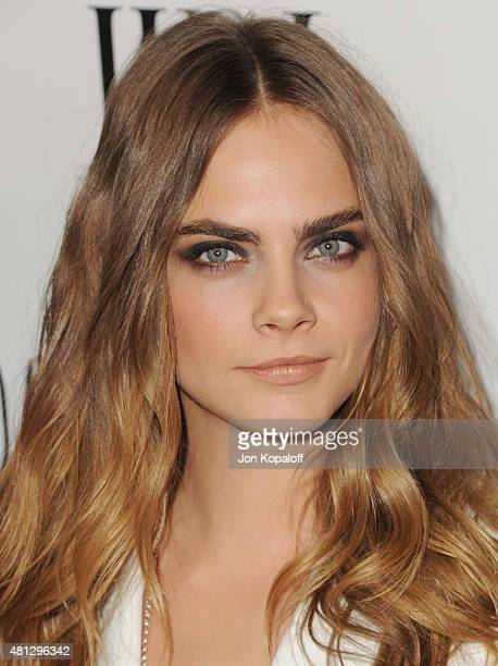Actress Cara Delevingne arrives at the Screening Of 20th Century Fox's 'Paper Towns' at The London West Hollywood on July 18 2015 in West Hollywood...