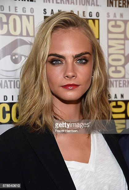 Actress Cara Delevingne attends the EuropaCorp press line during ComicCon International 2016 at Hilton Bayfront on July 21 2016 in San Diego...