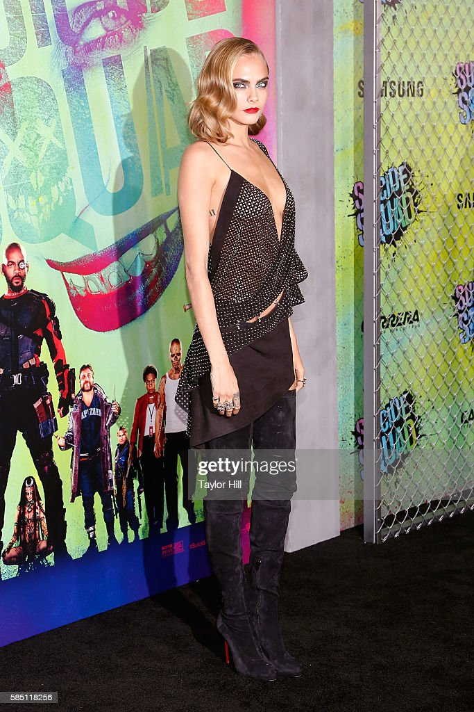 Actress Cara Delevingne attends the 'Suicide Squad' premiere at The Beacon Theatre on August 1, 2016 in New York City.
