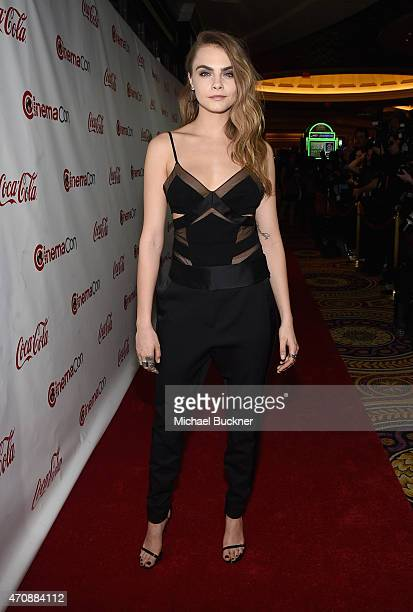 Actress Cara Delevingne one of the recipients of the Rising Stars of 2015 Award attends The CinemaCon Big Screen Achievement Awards Brought to you by...