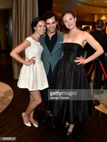 Actress Cara Gee actor Johnathan Sousa and actress Evelyne Brochu attend the Birks Diamond Tribute to the year's Women in Film during the 2013...